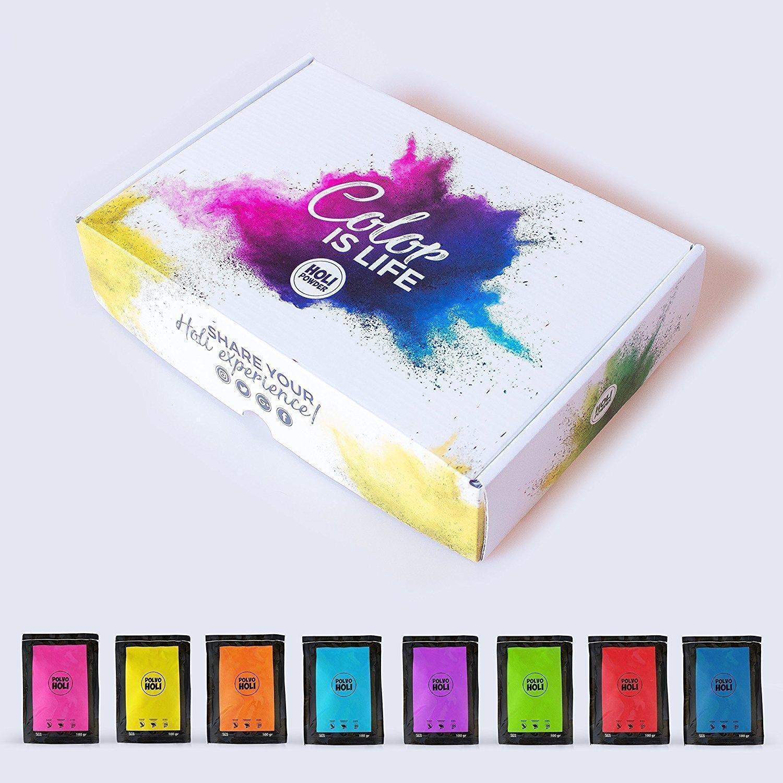 POLVO HOLI - 8 Bolsas de 100 Gramos Pack 800g Festival Fiesta Color EL Original
