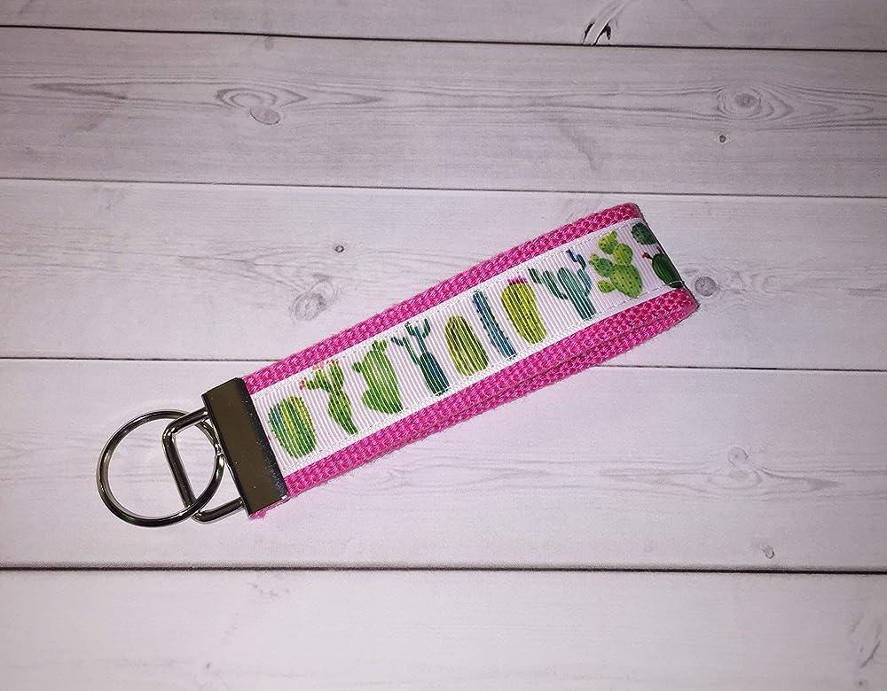 rosa peach floral Key FOB//Key Chain//Wristlet teachers gift coworker bridesmaids natural or aqua backing