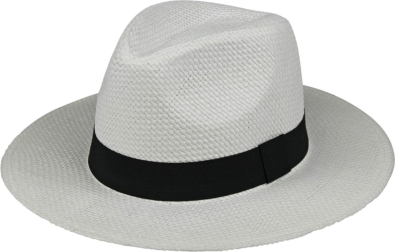 By Neki Mens Panama Shape Style Hat with Black Hat Band