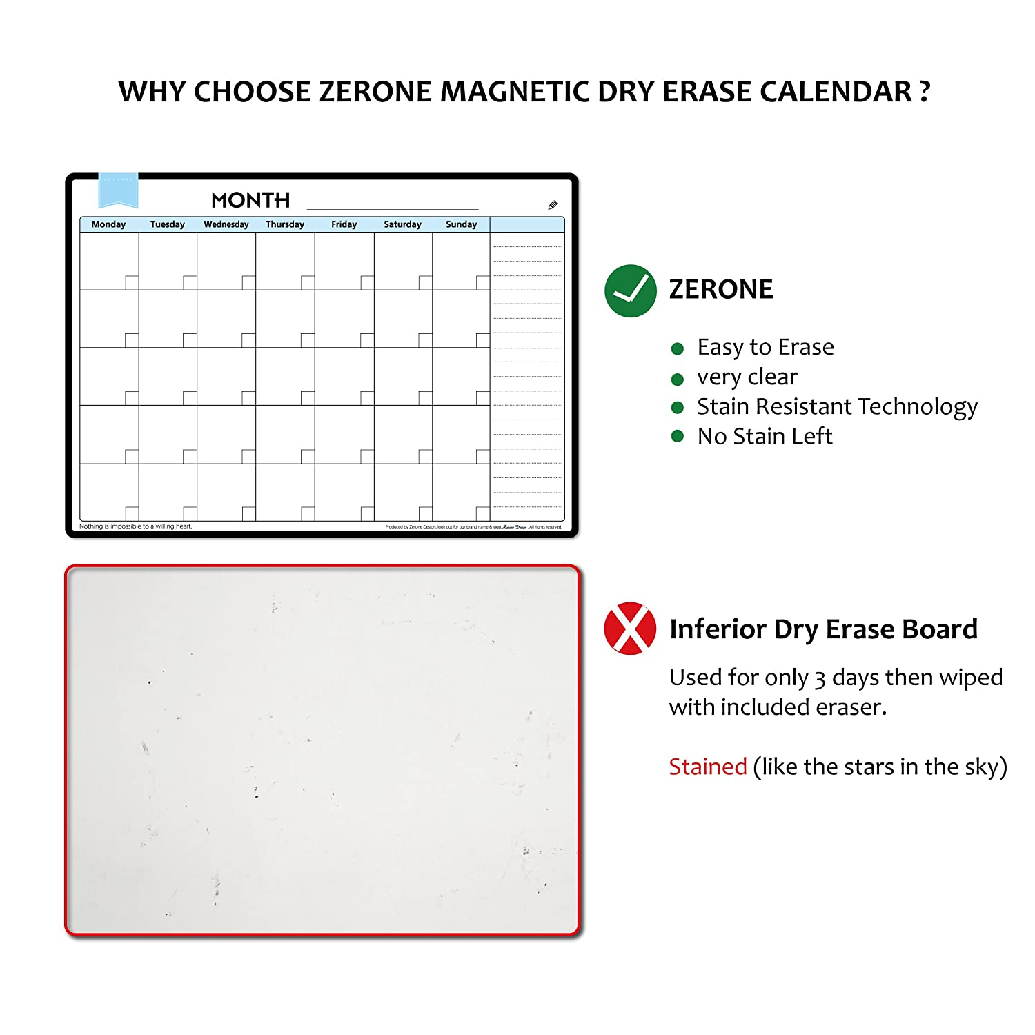 Memo or Event Reminder for Adults /& Kids Magnetic Calendar For Refrigerator Dry Erase Monthly Planner Calendar Board on Fridge Easy to Write and Wipe-Includes 3 Markers and Magnetic Eraser-Monthly