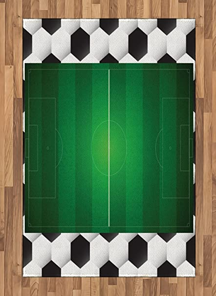 Ambesonne Soccer Area Rug Football Field With Hexagonal Ball Pattern Frame Sports Activity League Match