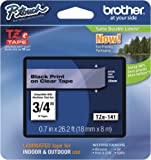"""Brother Ptouch Genuine TZe-141, ~3/4"""" (0.7"""") Black on Clear Standard Laminated Tape 26.2ft(8m) (TZE141)"""
