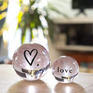 Pink Crystal Balls – Set of 2-2.8'' and 1.9'' Clear K9 Decorative Orbs - Gift Boxed – Office Desk Room Table Home Decor, Women, Meditation, Positive Energy – Centerpiece, Paperweight, Ornament
