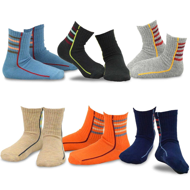 TeeHee (Naartjie) Kids Boys Cotton Fashion Fun Crew Socks 6 Pair Pack
