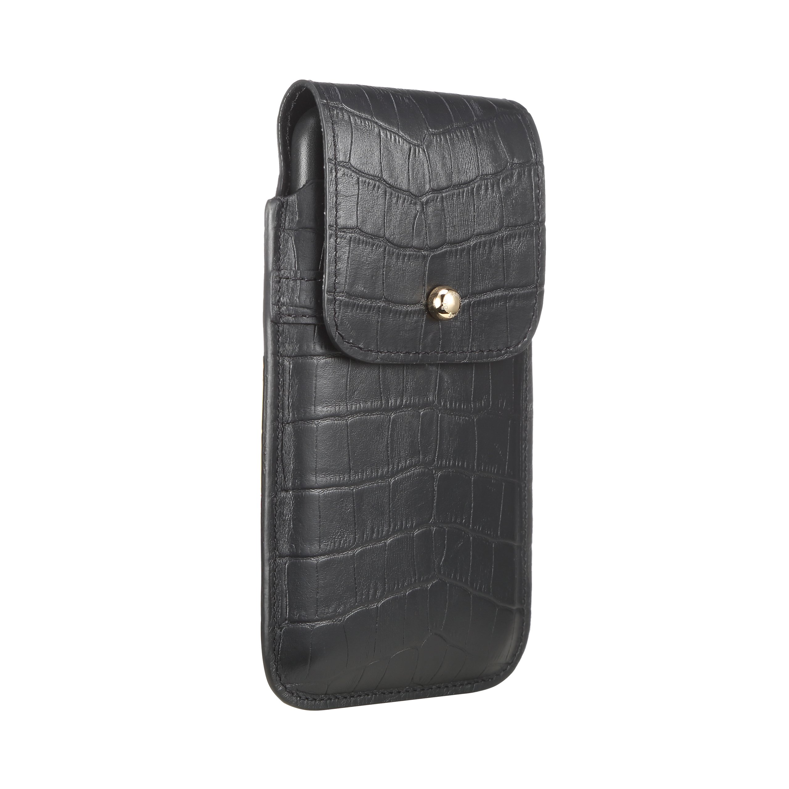 Blacksmith-Labs Barrett Mezzano 2017 Premium Genuine Leather Swivel Belt Clip Holster for Apple iPhone 7 Plus for use with Apple Leather Case - Black Croc Embossed Cowhide/Gold Belt Clip by Blacksmith-Labs (Image #1)