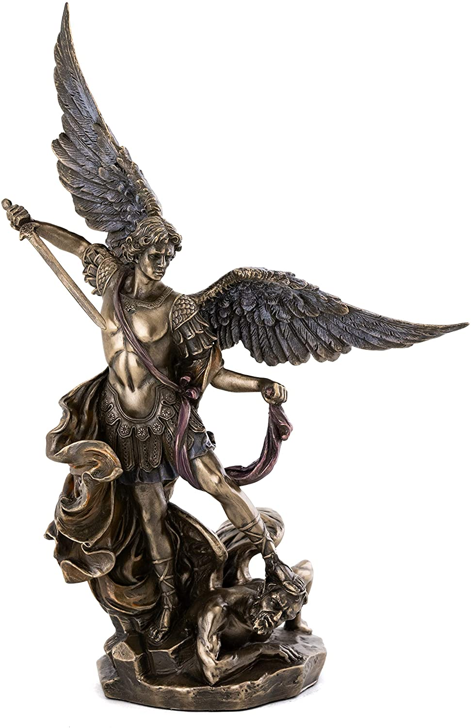 Top Collection Archangel St. Michael Statue - Michael Archangel of Heaven Defeating Lucifer in Premium Cold-Cast Bronze - 10-Inch Collectible Angel Figurine