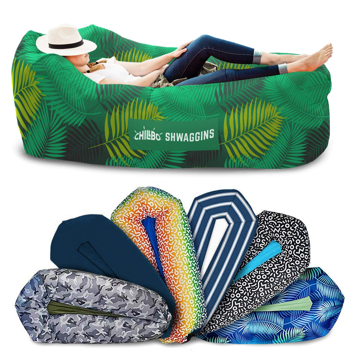 Chillbo SHWAGGINS 2.0 Best Inflatable Lounger Portable Hammock Air Sofa and Camping Chair Ideal Gift Inflatable Couch and Beach Chair Camping Accessories for Picnics & Festivals (Green Leaf) by Chillbo