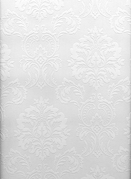 Brewster 429 6705 Paintable Solutions III Damask Paintable Wallpaper,  20.5 Inch By 396