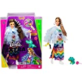 Barbie Extra Doll #9 in Blue Ruffled Jacket with Pet Crocodile, Long Brunette Hair with Bling Hair Clips, Layered Outfit & Ac