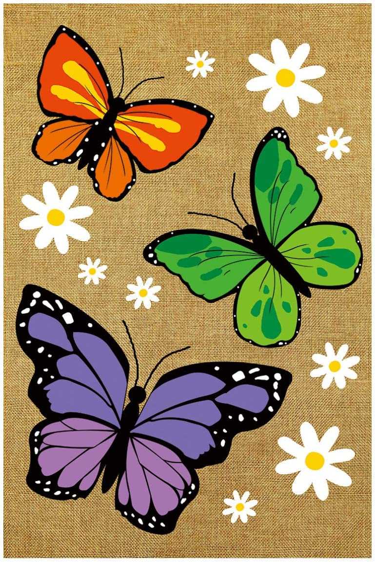 """Texupday Butterfly Trio Burlap Spring Double Sided Garden Flag Floral Daisies Yard Flag 12"""" x 18"""""""