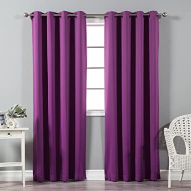 Best Home Fashion Thermal Insulated Blackout Curtains - Antique Bronze Grommet Top - Violet - 52 W x 72 L - (Set of 2 Panels)