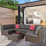 Kinsunny 7 Piece Outdoor Patio Furniture Set Wicker Sectional Sofa with 2 Pillows and Tea Table Patio Rattan Conversation Cha