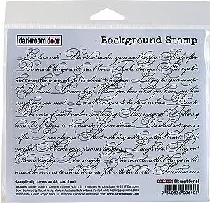 """Darkroom Door Elegant Script Background Cling Stamp, 4""""X6"""""""