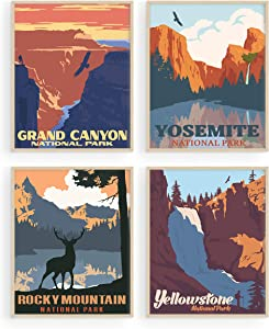 "Vintage National Park Posters Set - By Haus and Hues | National Parks Art Prints Nature Wall Art and Mountain Print Set Abstract Prints of Mountain Wall Art | Frameable Nature Paintings Mountain Decor (8""x10"", UNFRAMED)"