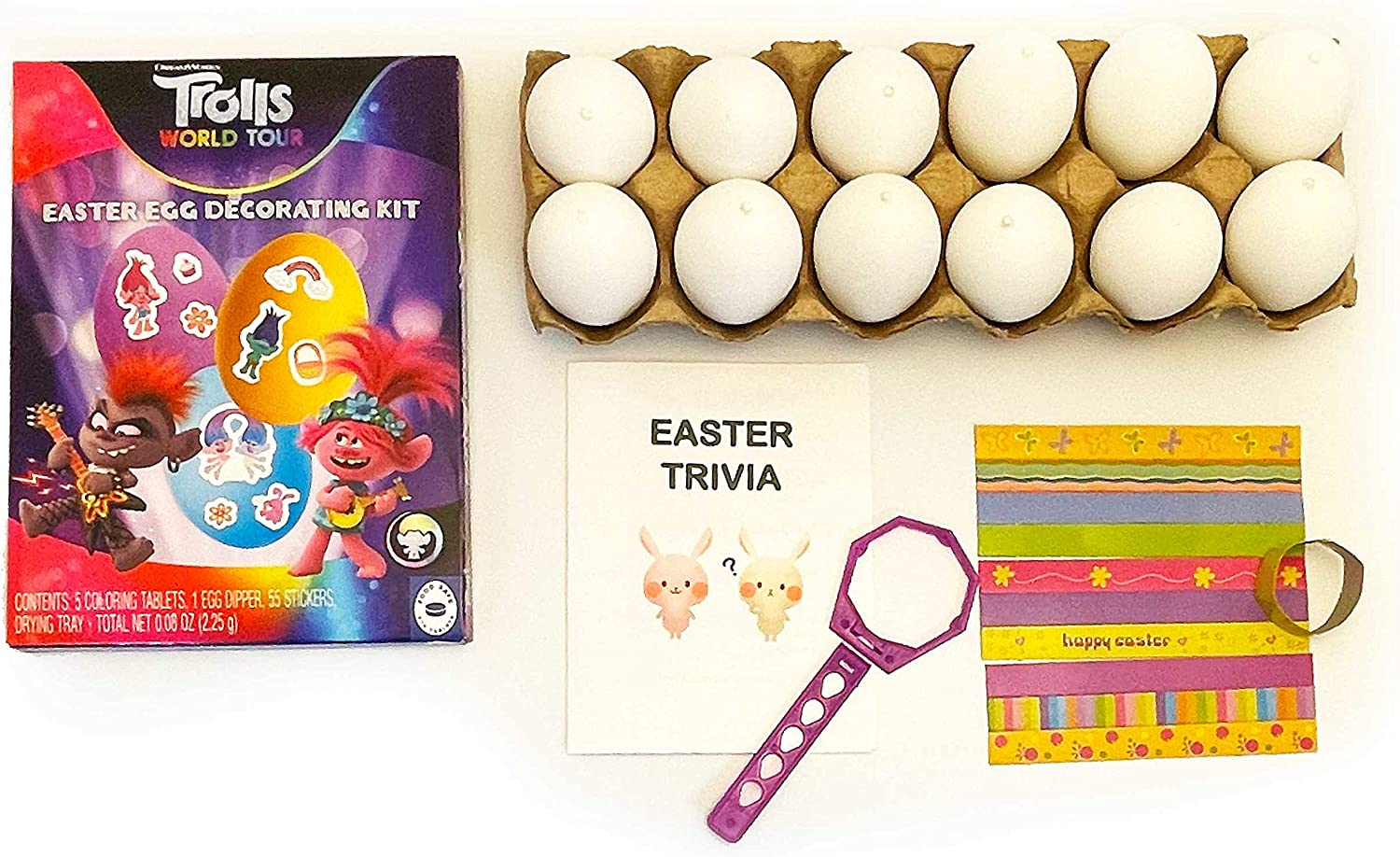 Easter Egg Decorating DIY Dyeing Kit Bundle with 12 Plastic Eggs, 5 Non-Toxic Food Grade Coloring Tablet Dyes, 2 Egg Dipper, Stickers, Drying Tray, Easter Trivia (Trolls World Tour)