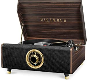 Victrola's 4-in-1 Highland Bluetooth Record Player with 3-Speed Turntable with FM Radio, Espresso (VTA-330B-ESP)