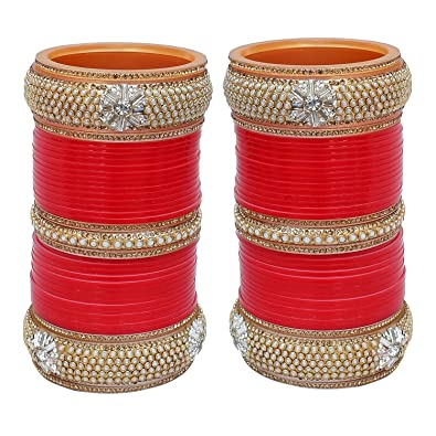 Bridal & Wedding Party Jewelry Bollywood Dhulhan Red Colour Chuda Set Indian Tradition Wedding Chuda Bangles
