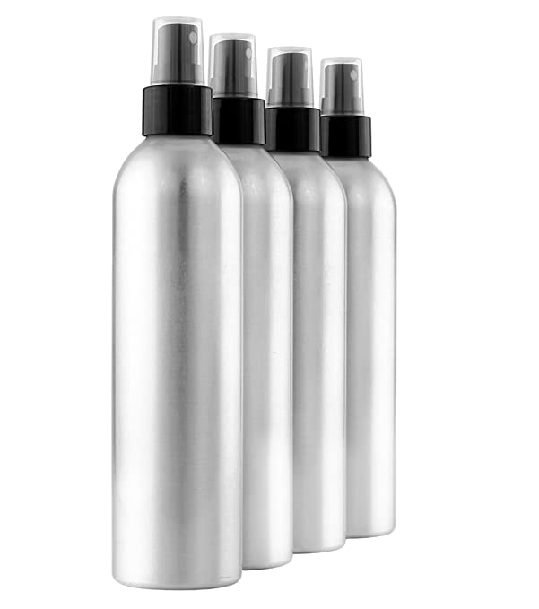 Cornucopia Brands 8-Ounce Aluminum Fine Mist Spray Bottles (4-Pack); Large Metal Atomizer Bottles Hold 8-10oz