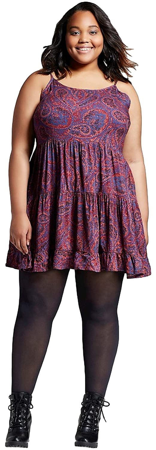 57bbcad13e9 Mossimo Women s (Juniors ) Plus Size Tiered Challis Dress at Amazon Women s  Clothing store