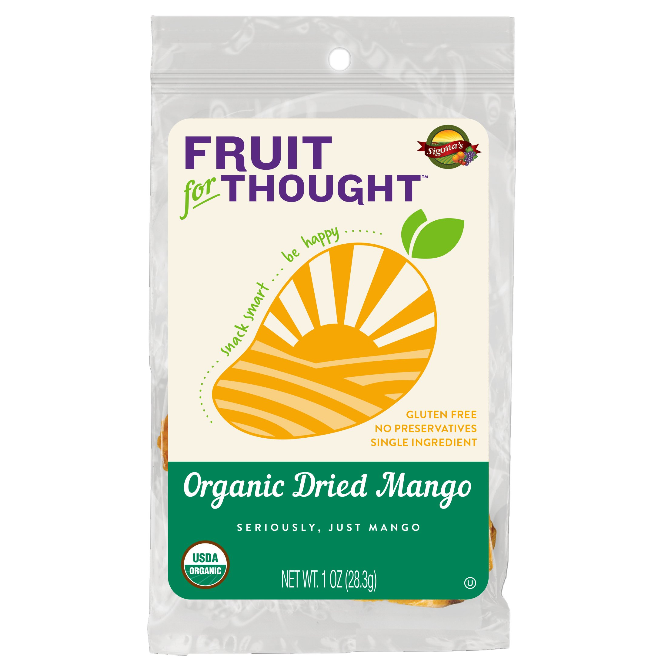 Fruit For Thought Unsweetened Organic Dried Mango Snacks, 1 Ounce (12 Pack)