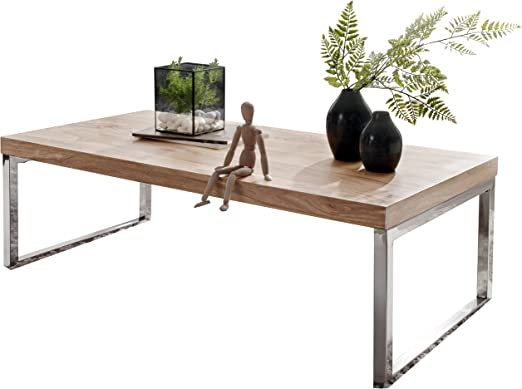 Wohnling mesa baja (madera maciza de acacia 120 cm de ancho – mesa ...