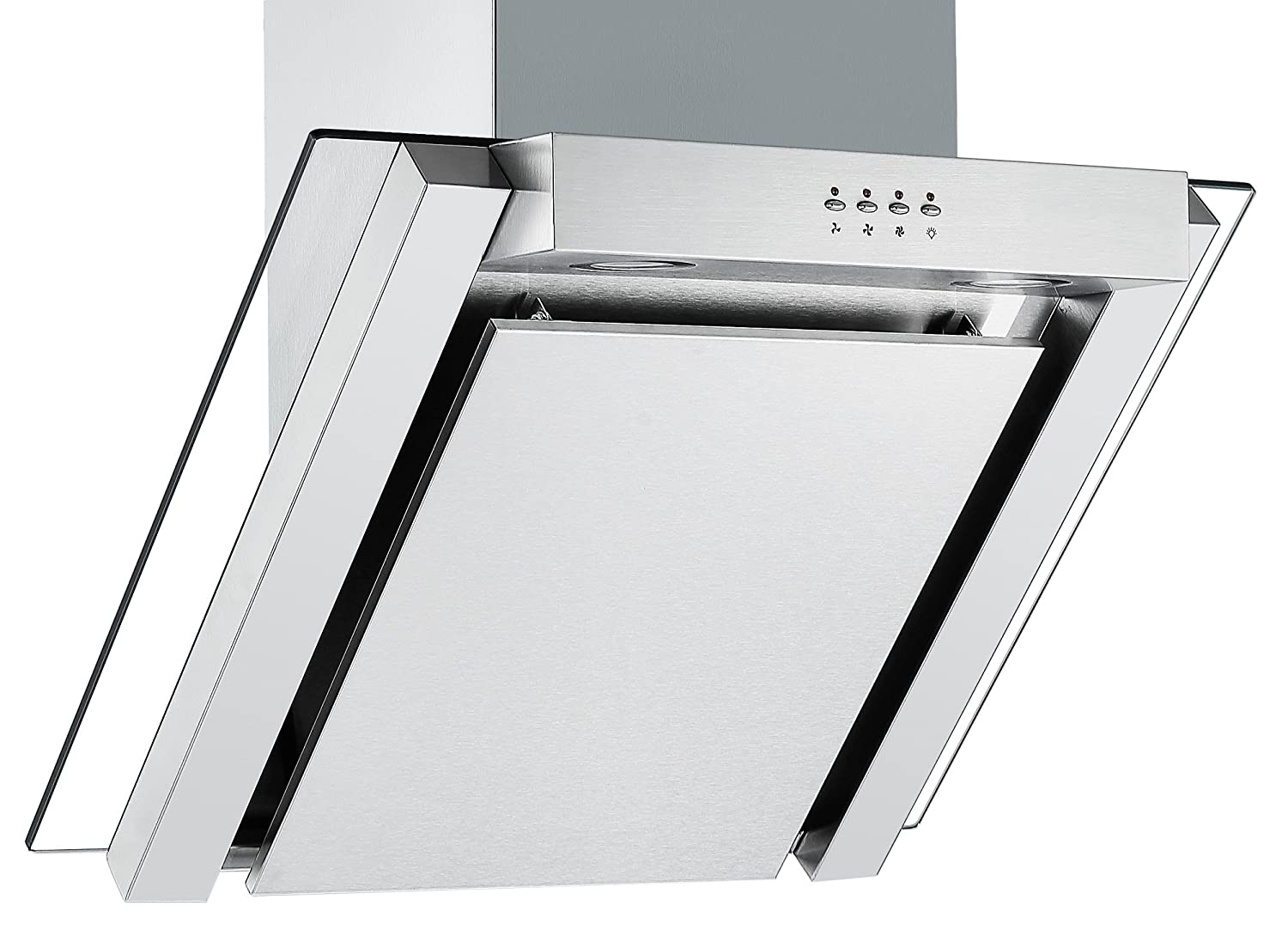 Angled Glass Extractor Fan | Cookology ANG605SS Unbranded 60cm Angled Glass Chimney Cooker Hood in Stainless Steel [Energy Class C]