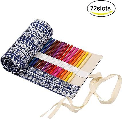 estuches enrollable de lápiz KAKOO estuche arte de bolso de lona de enrollable para guardar lapices de colores, boli de gel: Amazon.es: Oficina y papelería