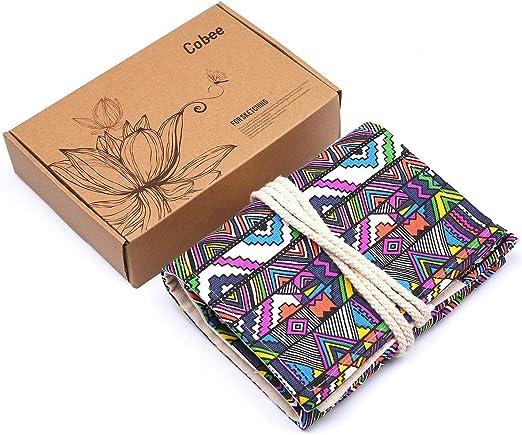 Cobee-Bolsa de tela, diseño de lápices de colores, portalápices Wrap Canvas- Estuche enrollable para Roll Up artista Sketch, esbozo, oficina, enfadado 48/36 piezas (lápices) no incluido: Amazon.es: Hogar