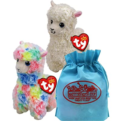 Ty Beanie Babies Llamas Lily (White) & Lola (Multi-Color) Gift Set Bundle with Bonus Matty's Toy Stop Storage Bag - 2 Pack: Toys & Games