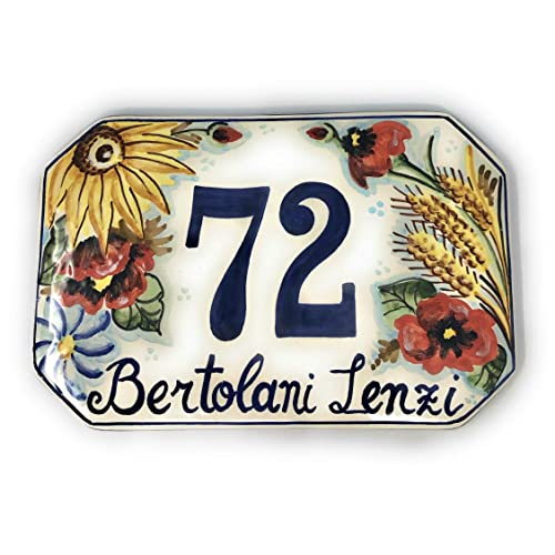 Italian Ceramic Art Pottery Tile Custom House Number Civic Address Plaques Decorated Sunflowers Hand Painted Made in ITALY Tuscan CERAMICHE DARTE PARRINI