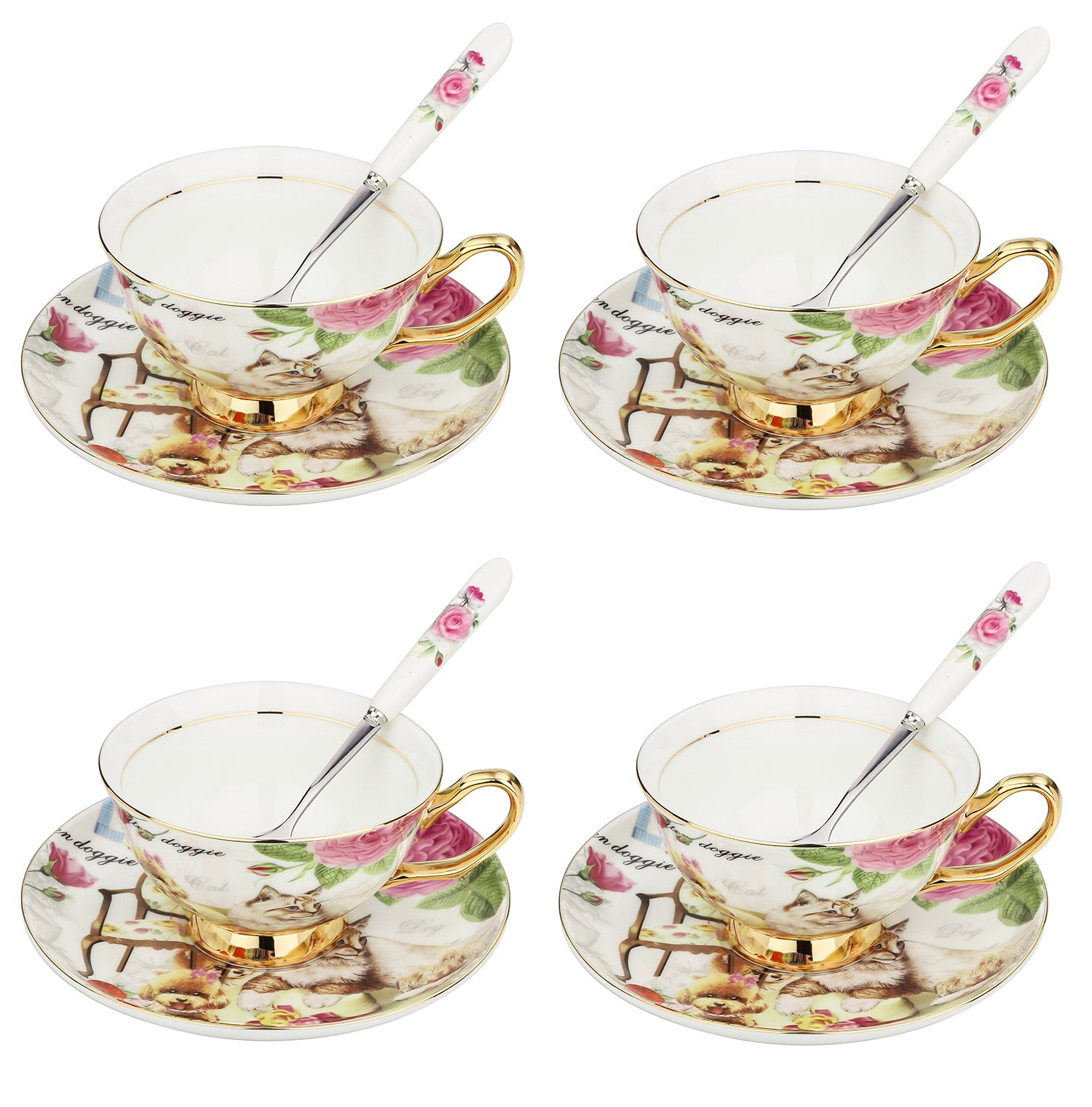 ARTVIGOR Dog and Cat Printed New Bone China Cup and Saucer Set with Spoon, Drinkware Set for Coffee and Tea