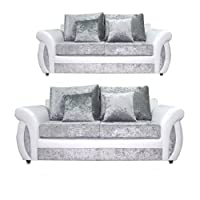Shannon White and Silver Crushed Velvet Sofa Settee Couch 2 3 seater 3+2