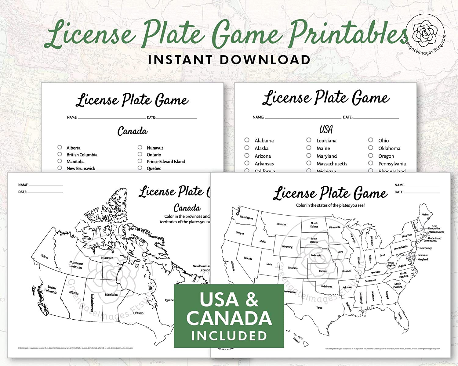 Amazon.com: License Plate Game Printable - US and Canada ...