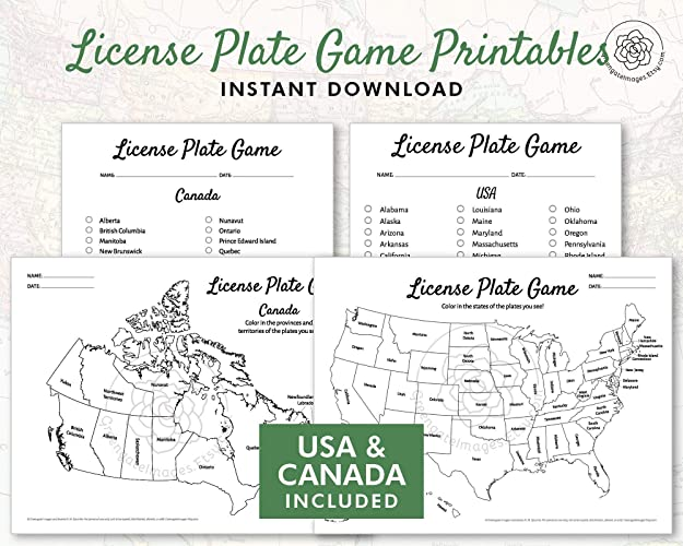 License Plate Game Printable - US and Canada ... - Amazon.com