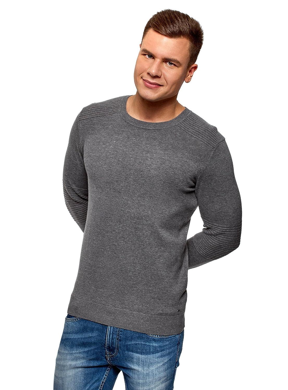 oodji Ultra Hombre Jersey de Punto con Elementos Texturizados