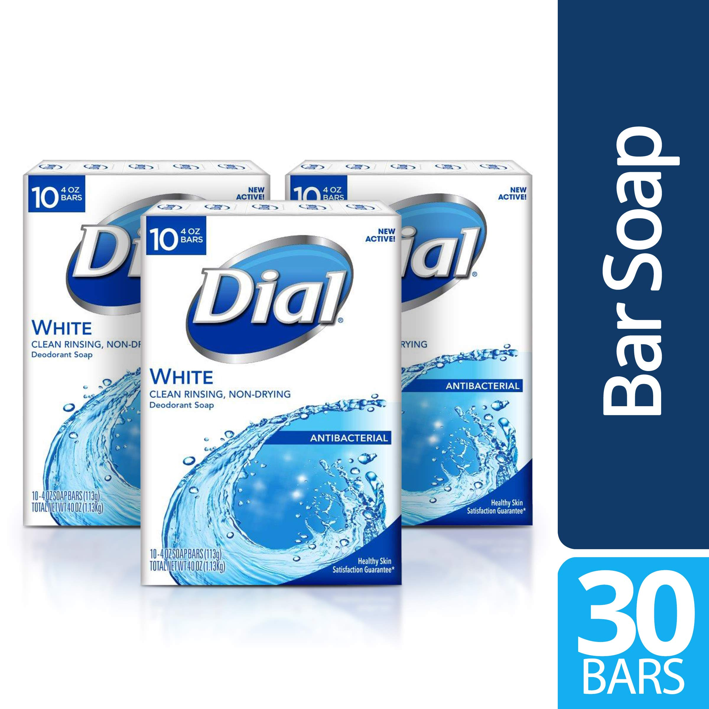 Dial Antibacterial Bar Soap, White, 30 Count by Dial