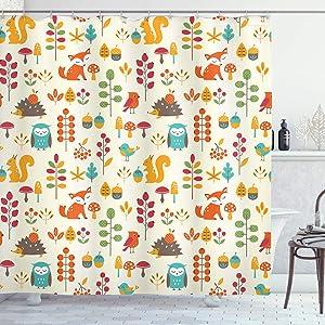 Ambesonne Cartoon Shower Curtain, Autumn Pattern Owl Fox Squirrel Birds Animal Leaves Print, Cloth Fabric Bathroom Decor Set with Hooks, 70
