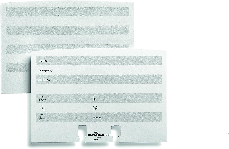 DURABLE VISIFIX & TELINDEX Address Cards Extension Set, White, 100-Pack (241902)