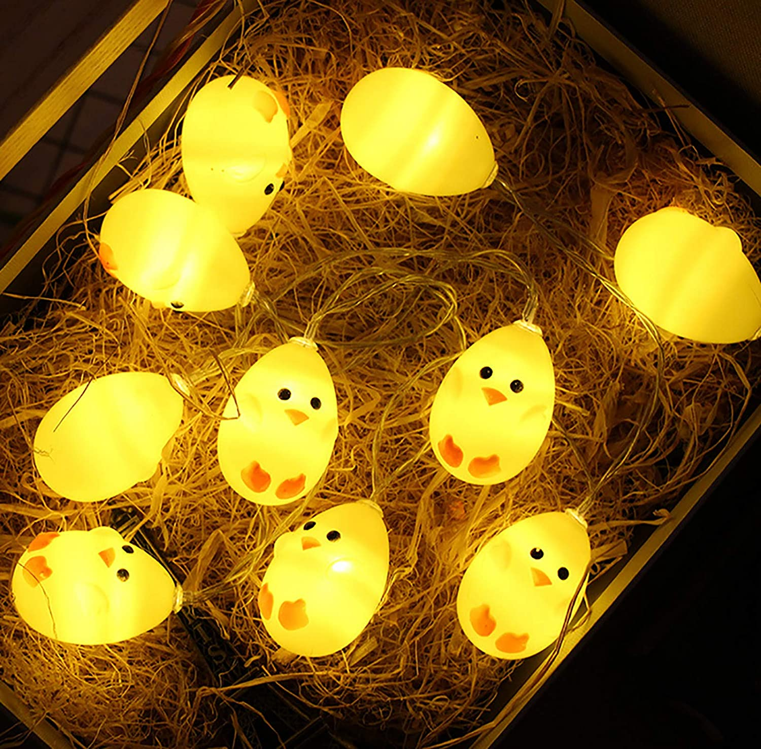 Little Yellow Chicken String Light for Easter, Cute Animal Chicken Decoration Lights, Battery Operated 1.5M 10 LED Lights for Home Decor, Party, Birthday, Camping, Kid Bedside lamp (Yellow Warm light)