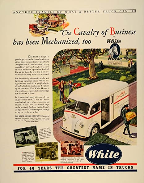 1941 Ad White Horse Delivery Truck Bakery Dairy Drivers