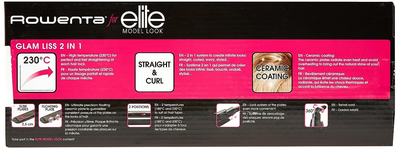 Rowenta SF1012 Straightening iron Caliente Negro 1.8m Utensilio de peinado - Moldeador de pelo (Plancha de pelo, Caliente, 180 °C, 230 °C, Negro, ...