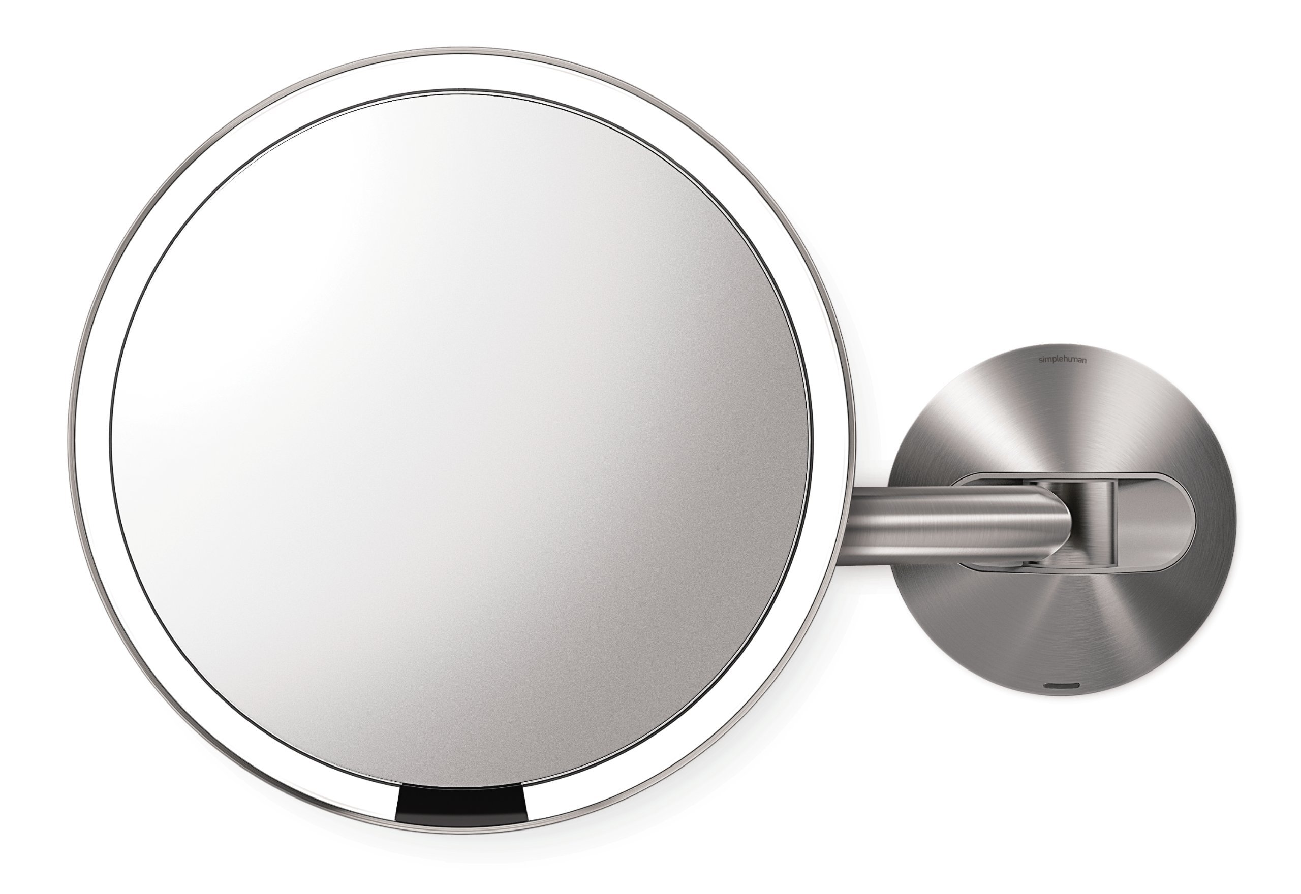 simplehuman 8 inch Wall Mount Sensor Mirror, Lighted Makeup Mirror, Rechargeable 5x Magnification by simplehuman