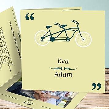 Einladung Silberhochzeit Gestalten Tandem 5 Karten Quadratische