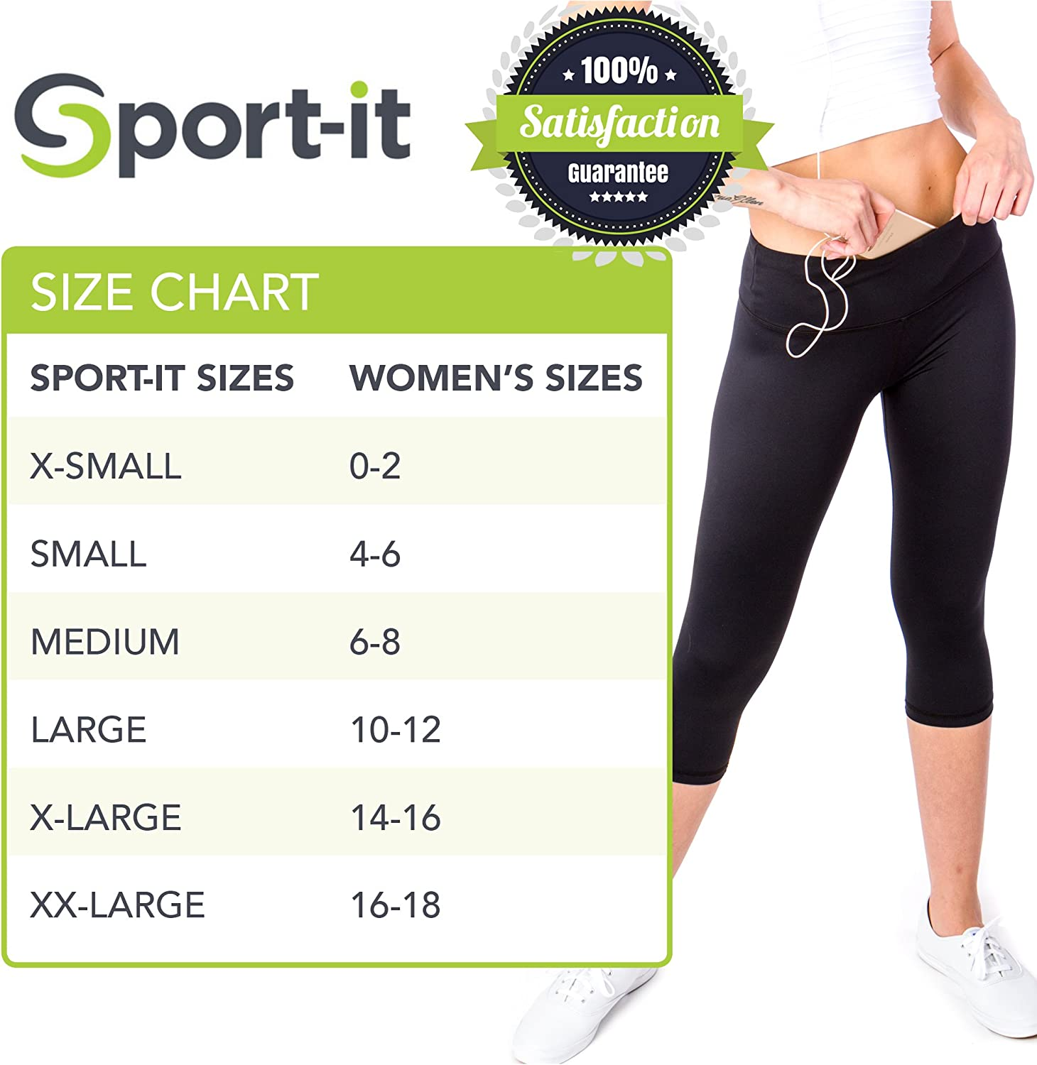 Amazon.com: Sport-it Yoga Capri Leggings con bolsillos y ...