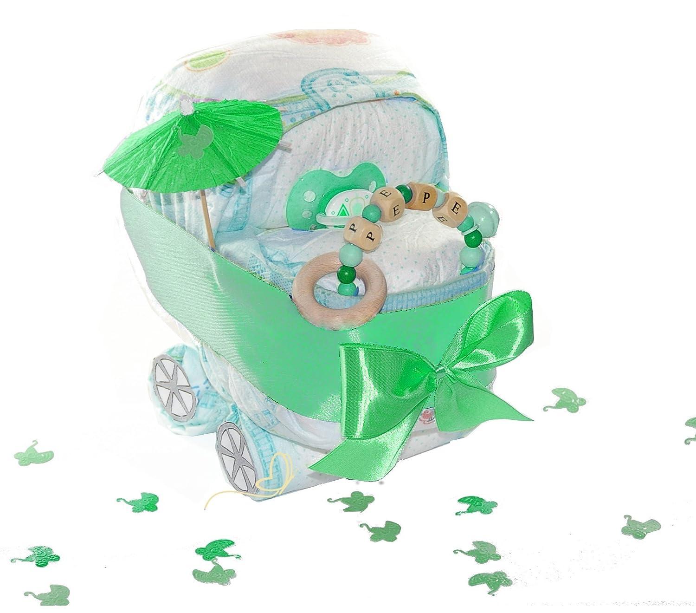 Pampers Windelwagen inkl Greifling//Rassel Windeltorte mit Name grün neutral