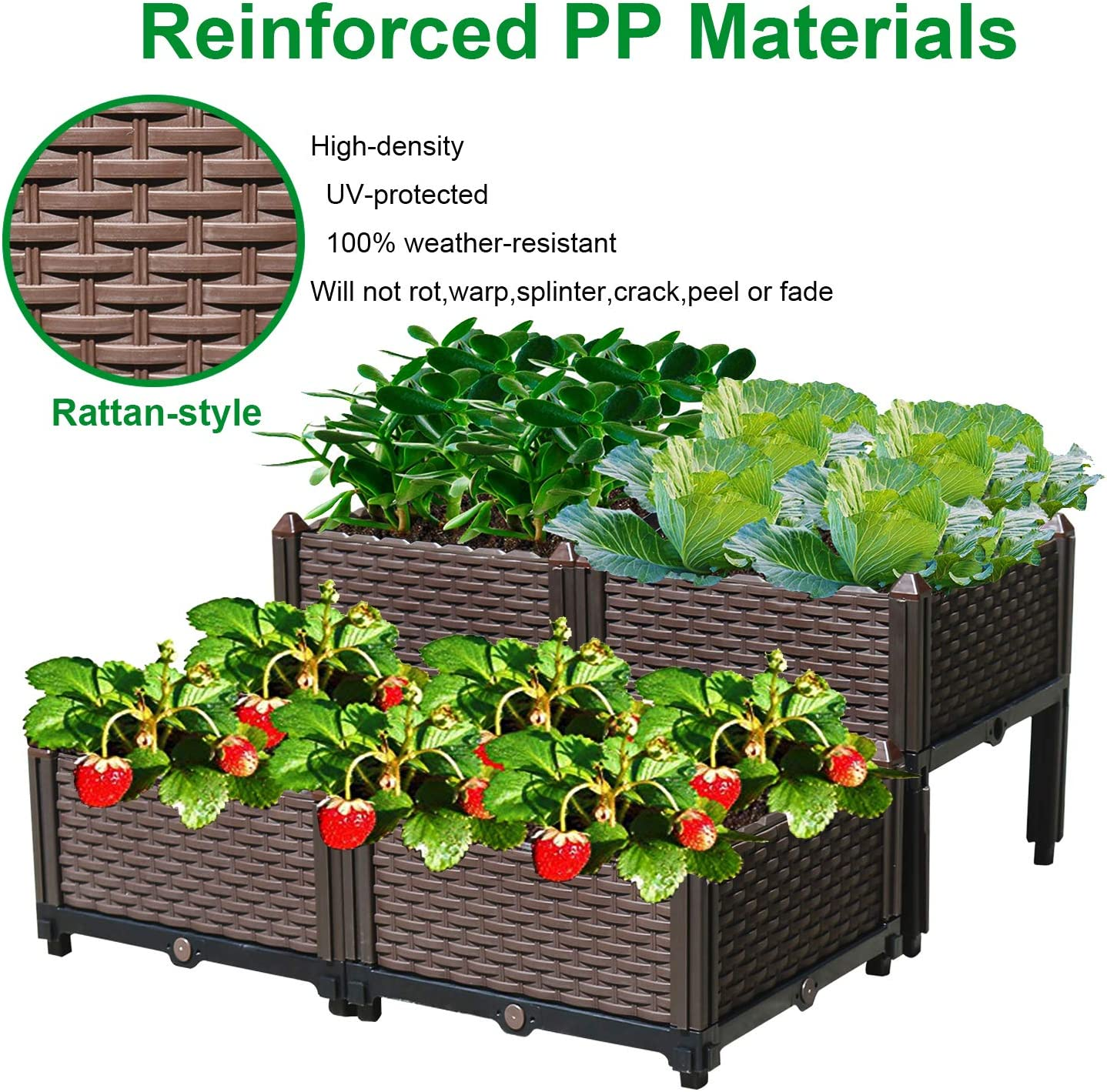 Reliancer Set of 4 Raised Garden Beds w Brackets Elevated Garden Bed Kit Patio Flower Plant Planter Box Vegetables Planting Container Fence Indoor Outdoor for Porches Decks Balconies Yard Gardening