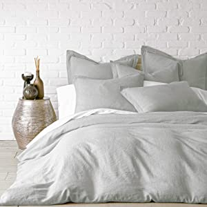 Levtex Home - 100% Linen - Full/Queen Duvet Cover Duvet Cover - Washed Linen in Light Grey - Duvet Cover Size (96 x 92in.)