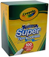 Crayola Super Tips Washable Markers, 100 Count Supertip Marker, Bulk, Adult Colouring, School and Craft Supplies, Drawing Gift for Boys and Girls, Kids, Teens Ages 5, 6,7, 8 and Up, Holiday Toys, Stocking Stuffers, Arts and Crafts