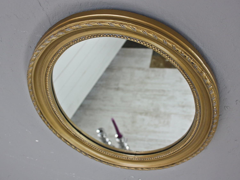 elbmöbel 37x47cm Wandspiegel oval in gold antik mit Patina Spiegel ...