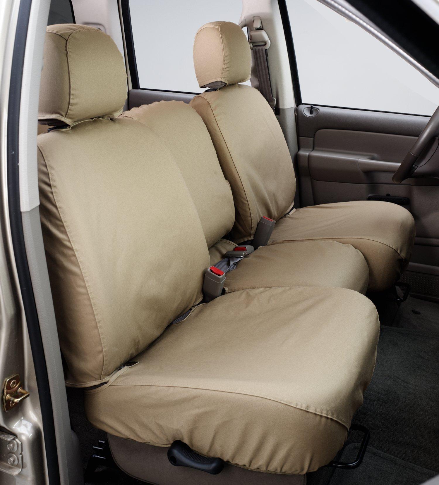 Covercraft Custom-Fit Rear-Second Seat Bench SeatSaver Seat Covers - Polycotton Fabric, Grey